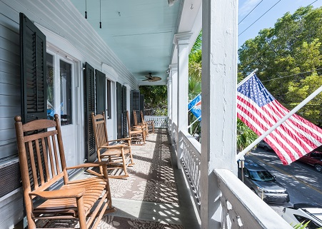 Old Town Manor Key West - Front Porch overlooking Eaton Street